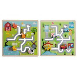 Dřevěný labyrint - puzzle město, farma