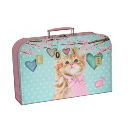 Kufřík Kočička Ginger růžovo/zelený 35 cm