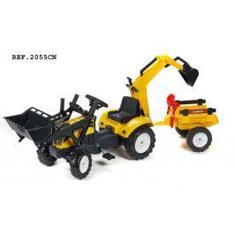 Falk Traktor Ranch Track žlutý s přední i zadní lžící a valníkem