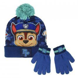 Sada čepice s bambulí + rukavice - Tlapková Patrola modrá