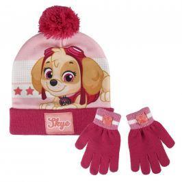 ALLTOYS Sada čepice s bambulí + rukavice Tlapková Patrola růžová Dětské čepice