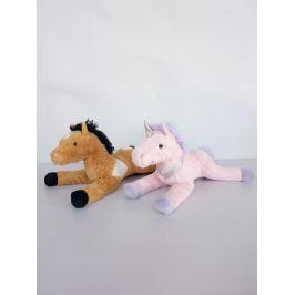 Plyšový kůň hnědý, růžový 57 cm
