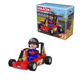 Igráček Igráček závodník s motokárou - červená