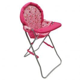 Jídelní židlička - růžová s puntíky