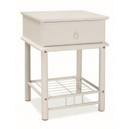 Noční stolek se zásuvkou v bílé barvě KN789