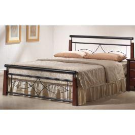 Manželská postel 180 x 200 cm v klasickém stylu v barvě antická třešeň s roštem KN441