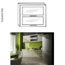Kuchyňská skříňka, stříbrné orámování/sklo, IRYS NEW G2W-80