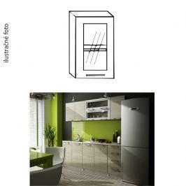 Kuchyňská skříňka, pravá, stříbrné orámování/sklo, IRYS GW-40