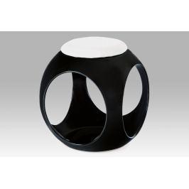 taburet, plast černý / sedák bílá PU ATC-11024 BK