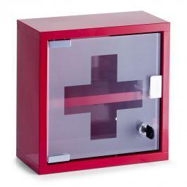 Skříňka na léky kovová červená na zeď E100