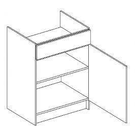 D60PC skříňka pod varnou desku KN1810 D/B pravá