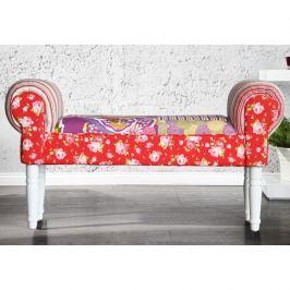 Lavice ve stylovém rustikálním designu v trendy červeném látkovém provedení bílá CHARADE