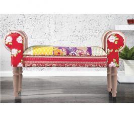 Lavice ve stylovém rustikálním designu v trendy červeném látkovém provedení světle hnědá CHARADE