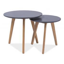 Set 2 kulatých konferenčních stolků v šedém laku s dekorem dub typ S2 KN619