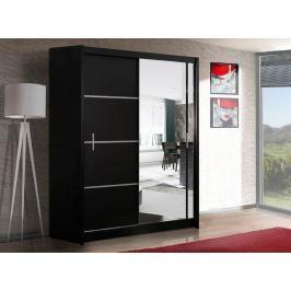 Šatní skříň se zrcadlem 150 cm s posuvnými černými dveřmi a černým korpusem KN535