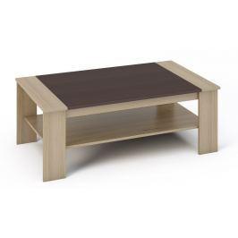 Konferenční stolek 120x71 cm v kombinaci dekoru wenge a dubu sonoma s policí KN534