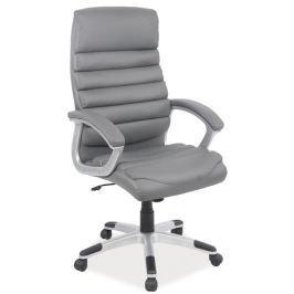 Kancelářské otáčecí křeslo čalouněné šedé koženkou typ Q087 KN104