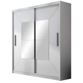 Šatní skříň 203 cm s posuvnými dveřmi se zrcadlem v bílé barvě KN863