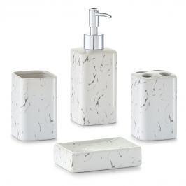 Sada do koupelny bílá vzhled mramor E368