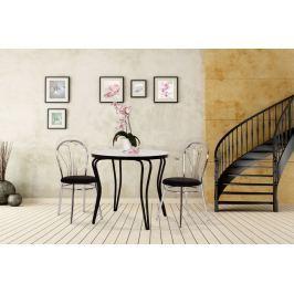 Jídelní stůl kulatý bílá a černá chromové nohy 80cm OLEG
