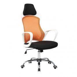 Kancelářská židle v provedení bílé a oranžové TK091