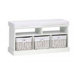 Bílá dřevěná lavice se 3 proutěnými košíky TK046