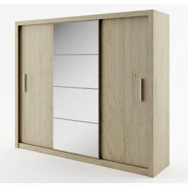 Šatní skříň 250 cm s posuvnými dveřmi v dekoru dub sanremo se zrcadlem typ 01 KN343