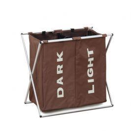 Látkový koš na prádlo tmavě hnědý dvojitý LAUNDRY TYP 2 TK2012