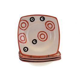 Sada keramických hlubokých talířů square COLORÉ, 4 ks, červené, OK