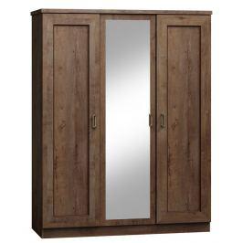 Dřevěná šatní skříň se zrcadlem v moderním dekoru dub lefkas typ T15 KN079