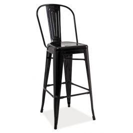 Moderní barová kovová židle v černé barvě KN380