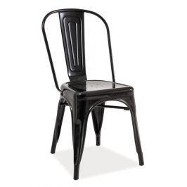 Industriální jídelní kovová židle černé barvy KN380