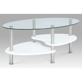 Konferenční stolek v kombinaci skla a bílého lesku ACT-007 WT1 AKCE