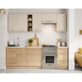 Kuchyňská linka 240 cm v pískové barvě v kombinaci s dubem sonoma KN393
