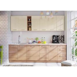 Kuchyňská linka 260 cm v pískové barvě v kombinaci s dubem sonoma KN393