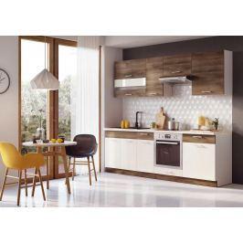 Moderní kuchyňská linka v kombinaci hnědé a béžové barvy F1015