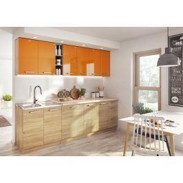 Kuchyňská linka 260 cm v oranžovém lesku v kombinaci s dubem sonoma KN393