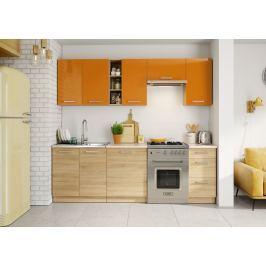 Kuchyňská linka 240 cm v oranžovém lesku v kombinaci s dubem sonoma KN393