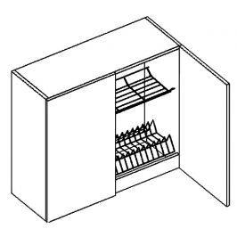 Horní skříňka s odkapávačem 80 cm v pískové barvě v kombinaci s dubem sonoma typ W80SU KN393