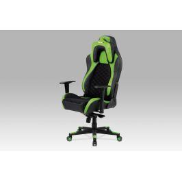 Kancelářská židle, černá látka MESH / zelená + černá koženka KA-F04 GRN