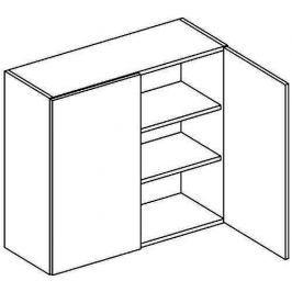 Horní skříňka 80 cm v oranžovém lesku v kombinaci s dubem sonoma typ W80 KN393
