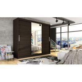 Šatní skříň v tmavě hnědé barvě se zrcadlem F1067