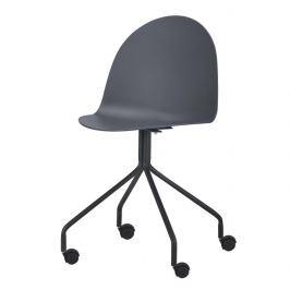 Kancelářská židle s kolečky v tmavě šedé barvě a plastu TK2018