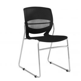 Moderně tvarovaná jídelní židle v černé barvě s kovovou konstrukcí TK218
