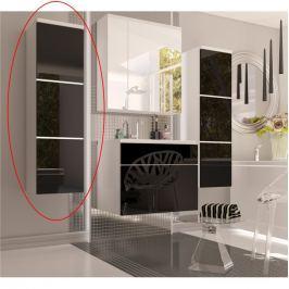 Skříňka koupelnová vysoká v kombinaci černý lesk a bílá BL11 TK3067