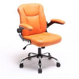 Prošívané pohodlné kancelářské křeslo v oranžové ekokůži s područkami TK231