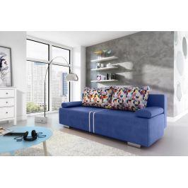 Rozkládací pohovka s úložným prostorem v modré barvě s barevnými polštáři F1094