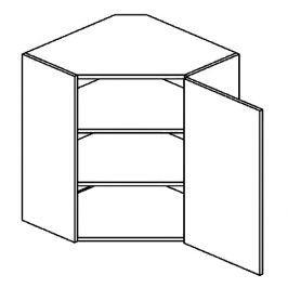 Horní rohová skříňka 60x60 cm s pravým otevíráním v elegantní šedé matné barvě typ WR KN394