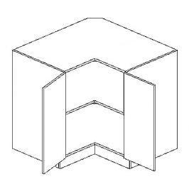 Dolní rohová skříňka 90x90 cm v elegantní mocca matné šedé barvě typ DRP KN394