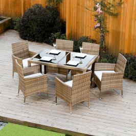 Zahradní set 6+1 z umělého ratanu v kombinaci medová a krémová TK3058